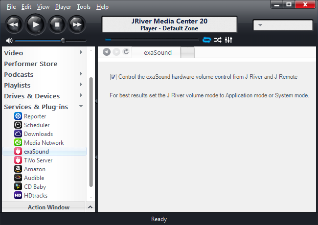 Configuring the exaSound Volume Synchronization Plug-in for JRiver